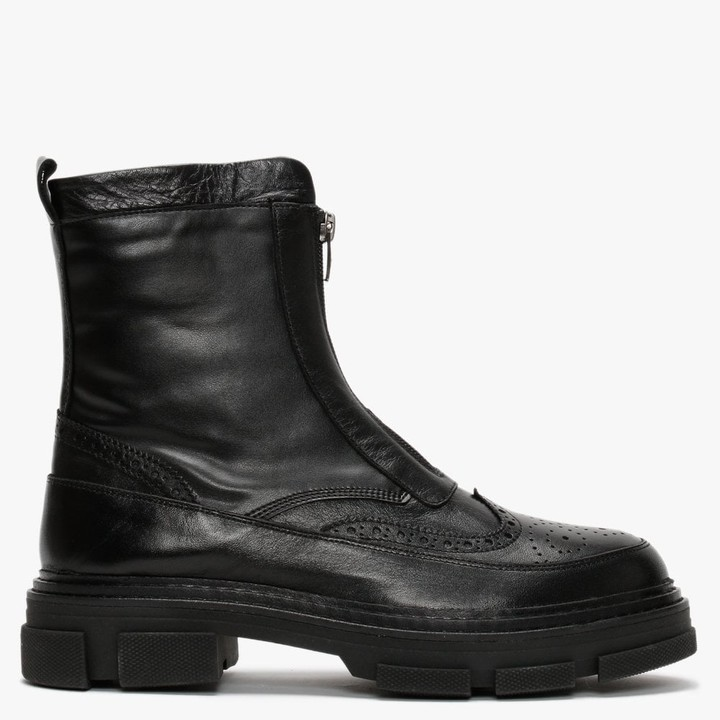 Daniel Bent Black Leather Brogue Ankle Boots