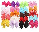 EVERMARKET 20pcs Hair Bows-15 Pure Color+5 Polka Dot- Alligator Clip Grosgrain Ribbon Headbands for Baby,Girls and Young Women
