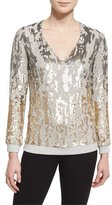 Jenny Packham Long-Sleeve Sequined Burnout Top, Dawn Gold