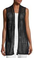 Joan Vass Cotton Lace Vest, Black