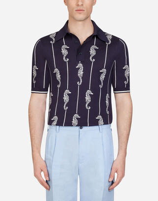 Dolce & Gabbana Polo Shirt In Inlaid Silk