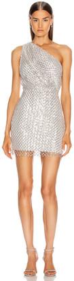 Mason by Michelle Mason One Shoulder Mini Dress in Platinum   FWRD
