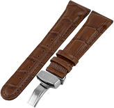 JBW Womens Brown And Silver Tone Genuine Calfskin Leather Watch Band