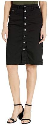 FDJ French Dressing Jeans Sunset Hues Denim Skirt Button Front Detail in Black (Black) Women's Skirt