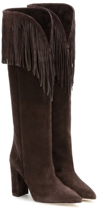 Paris Texas Fringed suede knee-high boots