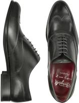 Fratelli Borgioli Handmade Black Italian Leather Wingtip Oxford Shoes