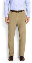 Classic Men's Tailored Fit Plain Front 18-wale Corduroy Trousers-Mid Gray Glen Plaid
