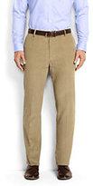 Lands' End Men's Tailored Fit Plain Front 18-wale Corduroy Trousers-Mid Gray Glen Plaid