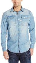 G Star Men's Wolker Long Sleeve Button-Up Shirt In Light Weight Craser Denim