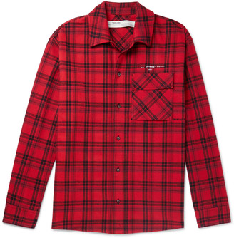 Off-White Off White Oversized Logo-Appliqued Checked Cotton-Blend Flannel Shirt