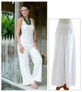 Handcrafted Solid White Caual Pants, 'Feminine Grace'