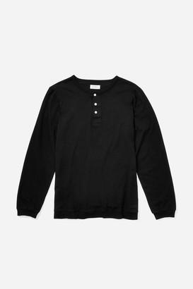 Saturdays NYC Mitch Pima Henley Long Sleeve T-Shirt