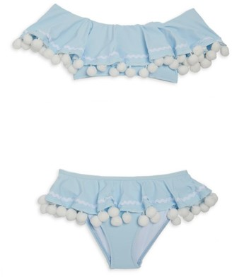 Stella Cove Little Girl's & Girl's 2-Piece UPF 50+ Pom-Pom Bikini Set