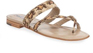 Manolo Blahnik Susa Rainbow Fabric Flat Sandals