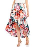 Eliza J Floral Faux Wrap Ruffle Skirt