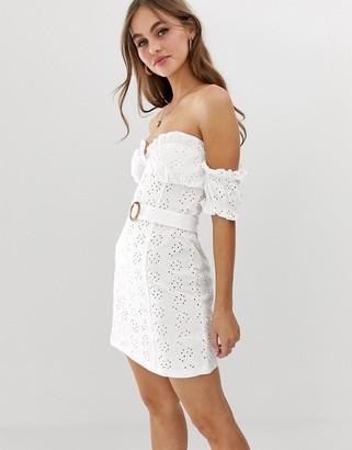 Bardot Asos Design ASOS DESIGN mini broderie sundress with faux tortoiseshell belt-White