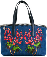 Stella McCartney Falabella embroidered denim tote - women - Cotton/Artificial Leather/metal - One Size