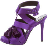 Roger Vivier Feather-Accented Satin Sandals