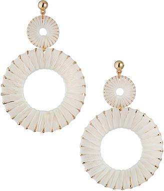 Panacea Raffia Double-Circle Earrings, White