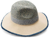 Collection 18 Colourblock Fray Edge Straw Panama Hat