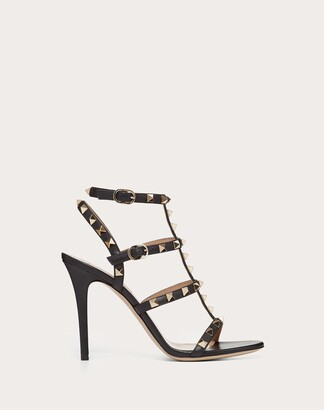 Valentino Rockstud Calfskin Ankle Strap Sandal 100 Mm Women Black Calfskin 100% 40.5