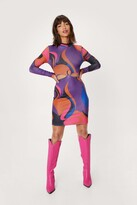 Thumbnail for your product : Nasty Gal Womens Abstract Print Cut Out Bodycon Mini Dress - Purple - 4