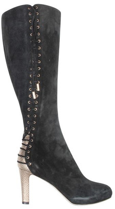 Sergio Rossi Black Suede High Knee Boots Size 35.5
