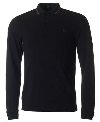Fred Perry Authentics Slim Fit Long Sleeved Tipped Polo Colour: BLACK,