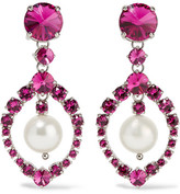 Miu Miu Silver-tone, Crystal And Faux Pearl Clip Earrings - Fuchsia