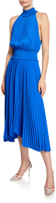 A.L.C. Renzo B Sleeveless Turtleneck Pleated Midi Dress