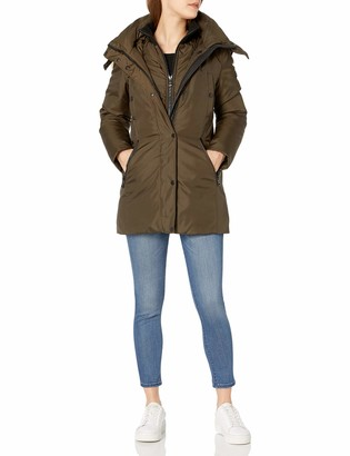 Andrew Marc Women's Sydney 3/4 Length Heavy Jacket with Coyote Fur Lined Hood