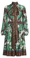 Erdem Women's Medina Rose Wallpaper & Leopard-Print Midi Dress