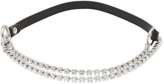 McQ Silver-tone, Crystal And Leather Choker
