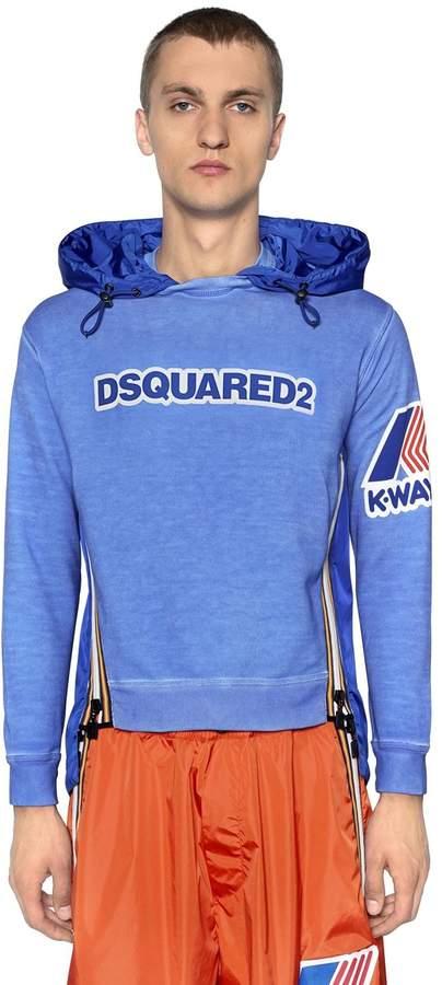 DSQUARED2 K-Way Hooded Jersey & Nylon Sweatshirt
