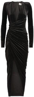 Alexandre Vauthier Velvet Plunge-Neck Gown