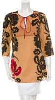 Sophie Theallet Printed Three-Quarter Sleeve Top w/ Tags