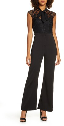 Adelyn Rae Devon Tie Neck Cap Sleeve Jumpsuit