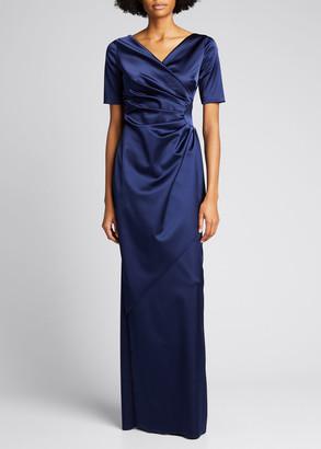 Chiara Boni Surplice Elbow-Sleeve Satin Gown