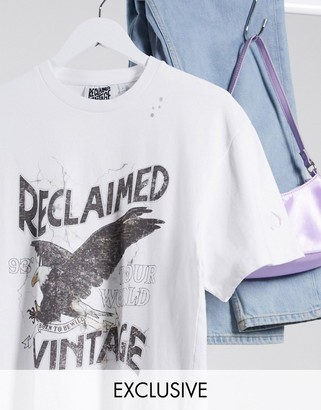 Reclaimed Vintage inspired rock t-shirt in white with distressing and ripped hem