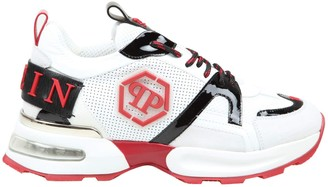 Philipp Plein Runner Hexagon In Suede And Leather Color White And Red