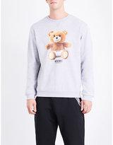 Moschino Mens Grey Ribbed Stylish Teddy Bear-Print Cotton-Jersey Sweatshirt