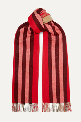 Burberry Fringed Striped Cashmere Scarf - Red
