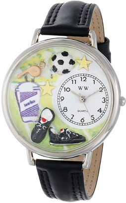 Whimsical Watches Soccer Black Padded Leather and Silvertone Unisex Quartz Watch with White Dial Analogue Display and Multicolour Leather Strap U-0820002