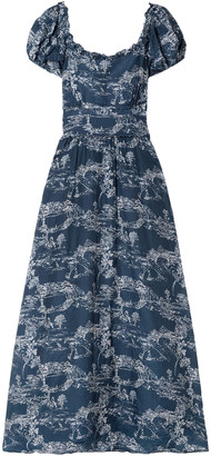 LoveShackFancy Bridget Frayed Printed Cotton And Silk-blend Maxi Dress