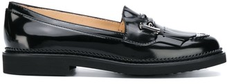 Tod's logo fringed loafers