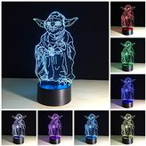 Ewei 3d night light table desk optical illusion lamps Yoda Master Shape Multicolored Change Desk Lamp for Room Decoration for Gifts