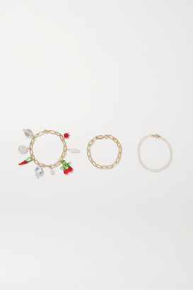 Eliou Chieti Set Of Three Gold-tone, Pearl, Glass And Bead Bracelets - one size