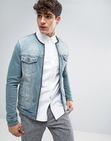 Asos Collarless Denim Jacket in Mid Blue Wash