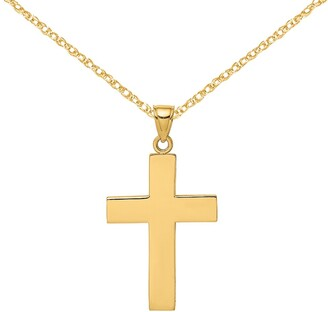 14K Yellow Gold Polished Large Block Cross Open Back Charm with 18-inch Cable Rope Chain by Versil