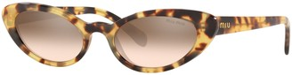 Miu Miu MU 09US Women's Stud Cat's Eye Sunglasses, Light Brown